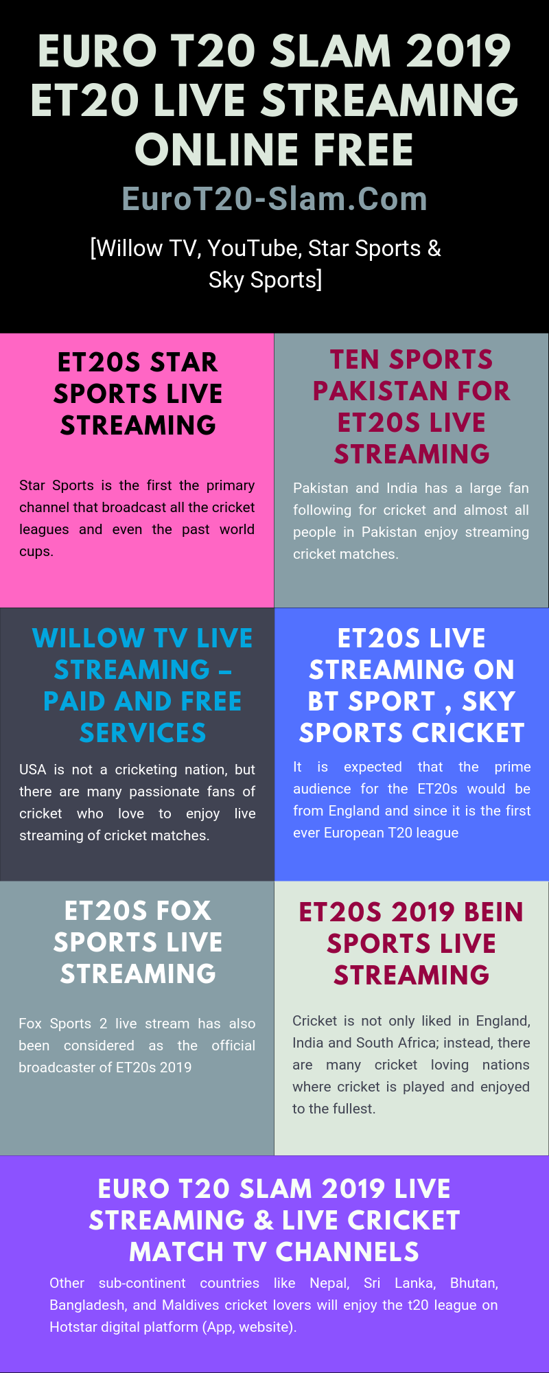 Euro T20 Slam 2019 eT20 Live Streaming Online Free [Willow TV, YouTube, Star Sports & Sky Sports]