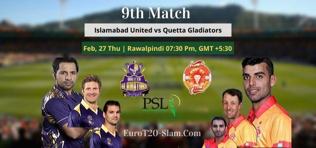 Islamabad United Vs Quetta Gladiators Prediction 2020-9th Match PSL 2020