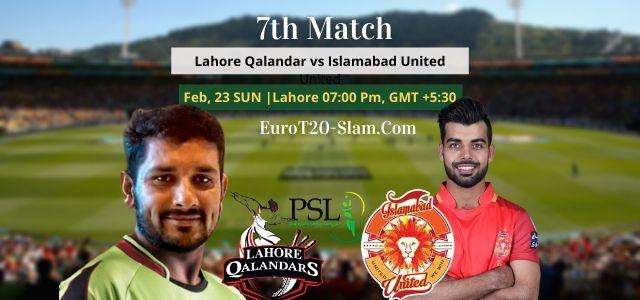 Lahore Qalandars vs Islamabad United Dream11 Team Prediction