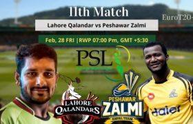 Lahore Qalandars vs Peshawar Zalmi Today Match Prediction 11th Match 28 Feb