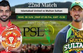 Islamabad United vs Multan Sultans Prediction 22nd Match 08 Mar