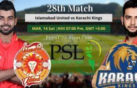 Karachi Kings vs Islamabad United Today Match Prediction 28th Match