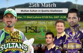 Multan Sultans vs Quetta Gladiators Prediction 25th Match