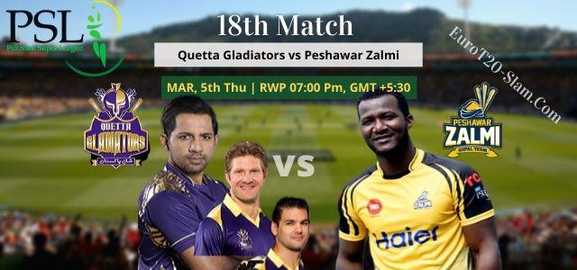 Peshawar Zalmi vs Quetta Gladiators Today Match Prediction 18th Match 5th Mar