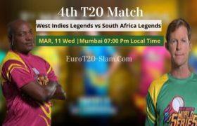 West Indies Legends vs South Africa Legends Prediction 4th T20